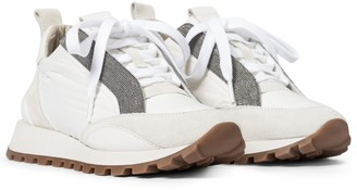 Brunello Cucinelli Embellished leather-trimmed sneakers