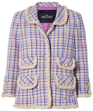 Marc Jacobs Frayed Checked Cotton-tweed Jacket - Cream