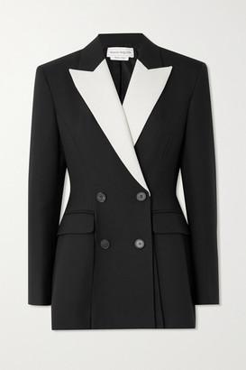 Alexander McQueen Double-breasted Two-tone Grain De Poudre Wool-blend Blazer - Black