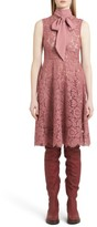 Valentino Garavani Women's Valentino Tie Neck Guipure Lace Dress