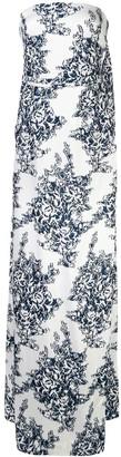 Oscar de la Renta Floral Fil Coupe Column Gown