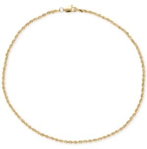 Italian Gold Fine Rope Ankle Bracelet in 14k Gold