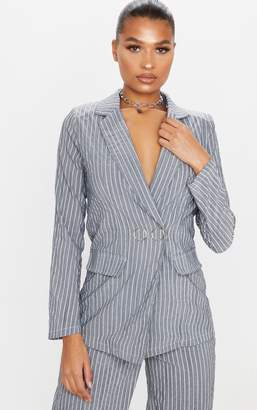 PrettyLittleThing Grey Pinstripe Ring Button Detail Blazer
