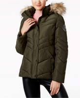 Madden-Girl Trendy Plus Size Faux-Fur-Trimmed Hooded Chevron Puffer Coat