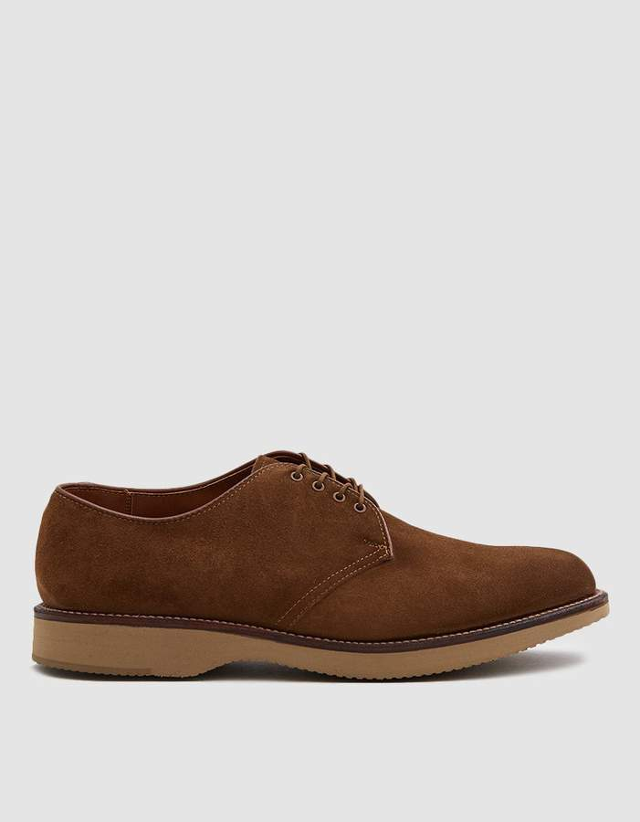 Alden Davis Plain Toe Blucher in Snuff Suede