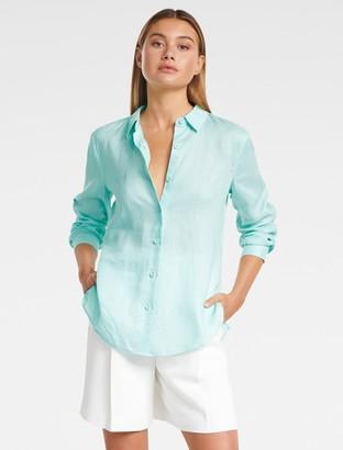 Forever New Viviana Long Sleeve Linen Shirt - Aqua - 10