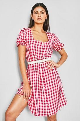 boohoo Check Print Square Neck Dress