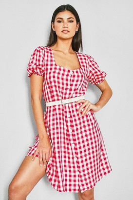 boohoo flannel Print Square Neck Dress