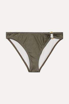 Solid & Striped The Mimi Coated Stretch Bikini Briefs - Army green