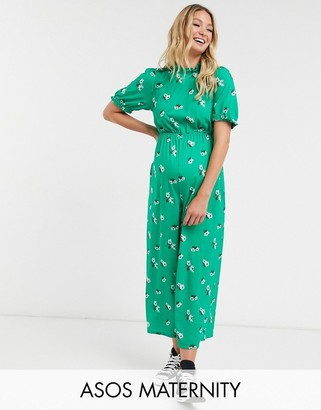 ASOS DESIGN maternity jersey high neck frill tea jumpsuit with buttons in green floral