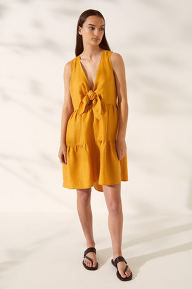 SABA SB Lila Linen Tiered Tie Dress