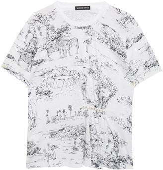 Markus Lupfer Embellished Gathered Printed Cotton-jersey T-shirt