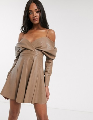 ASOS DESIGN slouchy off shoulder mini dress in pu