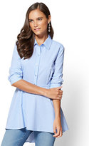 New York & Co. Poplin Tunic Shirt - Blue Stripe