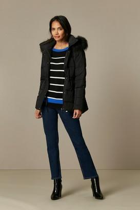 Wallis PETITE Black Short Quilted Coat