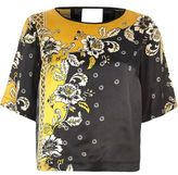 River Island Womens Yellow and black short sleeved satin top