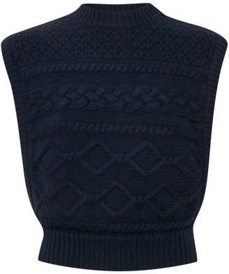 Gestuz Lupia Cable Knit Wool-Blend Sleeveless Sweater