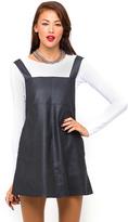 Motel Nadine Pinafore Dress in Black PU