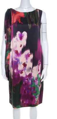 Elie Tahari Multicolor Floral Print Silk Draped Shift Dress M