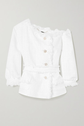 RALPH & RUSSO Off-the-shoulder Fringed Embellished Metallic Tweed Jacket - White