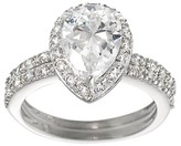 Journee Collection 1 2/5 CT. T.W. Pear-cut Cubic Zirconia Bridal-style Prong Set Ring Set in Sterling Silver - Silver