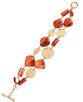 Kenneth Cole New York Orange Shell Mixed Shell Bead and Circle 2 Row Toggle Bracelet