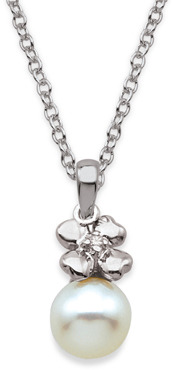 Bed Bath & Beyond My First Diamond Sterling Silver and Freshwater Shell Pearl Flower And White Pearl Necklace