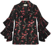 Gucci Begonias jacquard jacket with pleated sleeves