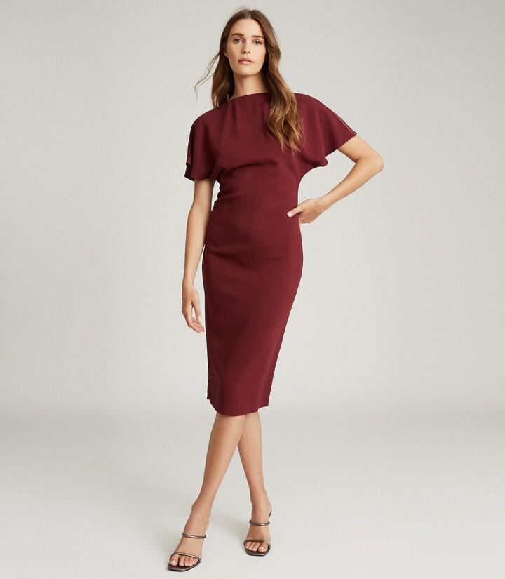 Reiss Josie - Zip-detail Bodycon Dress in Berry