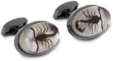 Tateossian - Gunmetal-plated, Scorpion And Mother-of-pearl Cufflinks
