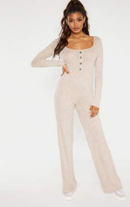 PrettyLittleThing Tall Stone Tortoise Button Jumpsuit