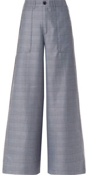 Ganni Merkel Crystal-embellished Checked Silk-blend Wide-leg Pants - Blue
