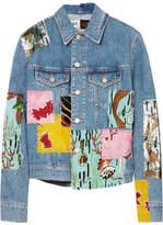 Loewe Paula's Ibiza Sequined Patchwork Denim Jacket - Indigo