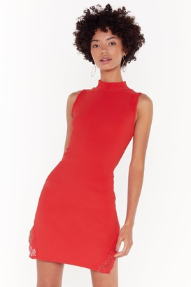 Nasty Gal Womens Lace You to the Bar Ribbed Mini Dress - Red