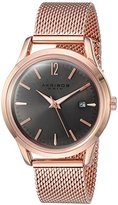 Akribos XXIV Women's Quartz Rose-Tone Case with Rose-Tone Accented Black Sunray Dial on Rose-Tone Stainless Steel Mesh Bracelet Watch AK930GY