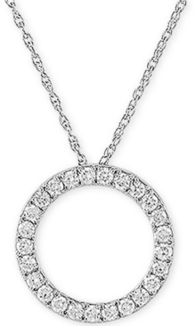 """Forever Grown Diamonds Lab Created Diamond Circle 18"""" Pendant Necklace (3/4 ct. t.w.) in Sterling Silver"""