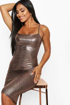 boohoo Metallic Strappy Midi Dress