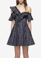 Self-Portrait Self Portrait Denim Frill Mini Dress Navy