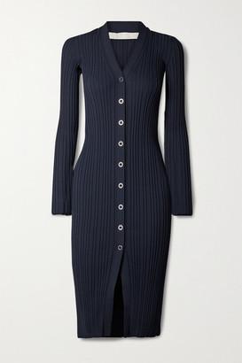 Dion Lee Ribbed-knit Midi Dress - Midnight blue
