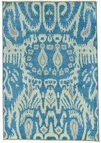 "1800 Get A Rug Denim Ikat Uzbek Design Pure Wool Hand-Knotted Oriental Rug (4'2"" x 6')"