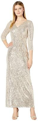 Alex Evenings Long Sequin Column Dress with Knot Front Detail (Taupe) Women's Dress