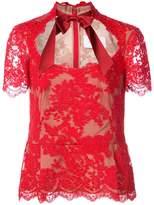 Marchesa lace peplum blouse