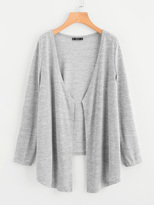 Shein Open Front High Low Heathered Knit Coat