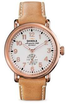 Shinola Runwell Rose Goldtone PVD Stainless Steel & Leather Strap Watch