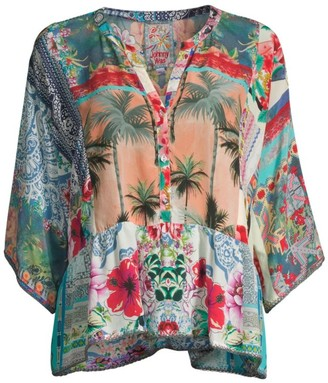 Johnny Was Adelyn Printed Silk Blouse