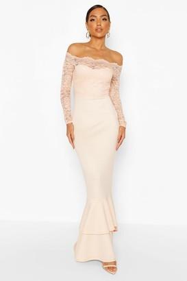 boohoo Lace Bardot Frill Fishtail Maxi Dress