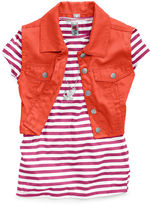 Beautees Kids Set, Girls Denim Vest, Tee and Necklace