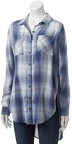 Mudd Juniors' Plaid Button-Down Tunic