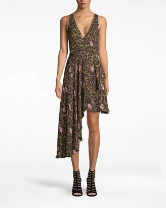Nicole Miller Floral Leopard Asymmetrical Dress