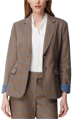 Tahari ASL Roll-Cuff Plaid Blazer
